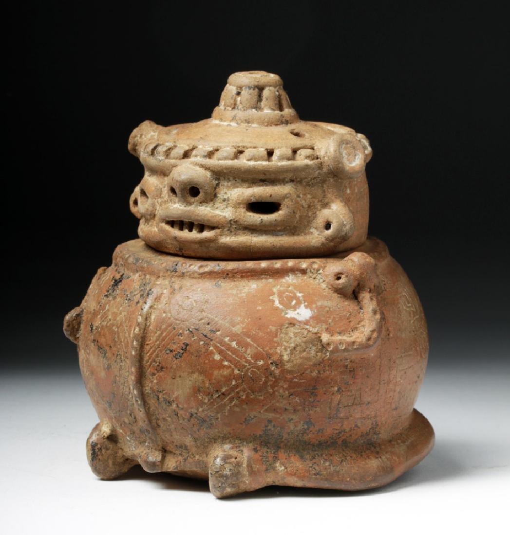 Costa Rican Pottery Lidded Effigy Jar - Chieftain - 2