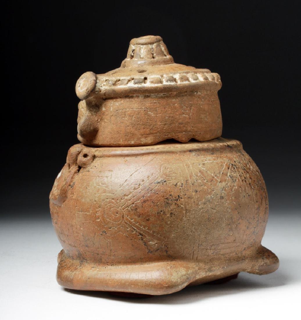 Costa Rican Pottery Lidded Effigy Jar - Chieftain - 3