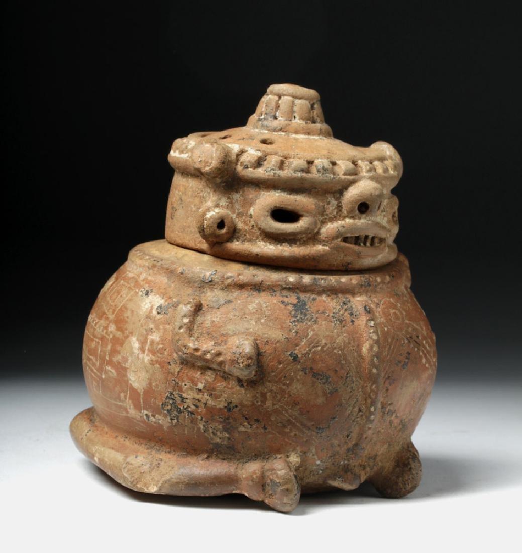 Costa Rican Pottery Lidded Effigy Jar - Chieftain - 5