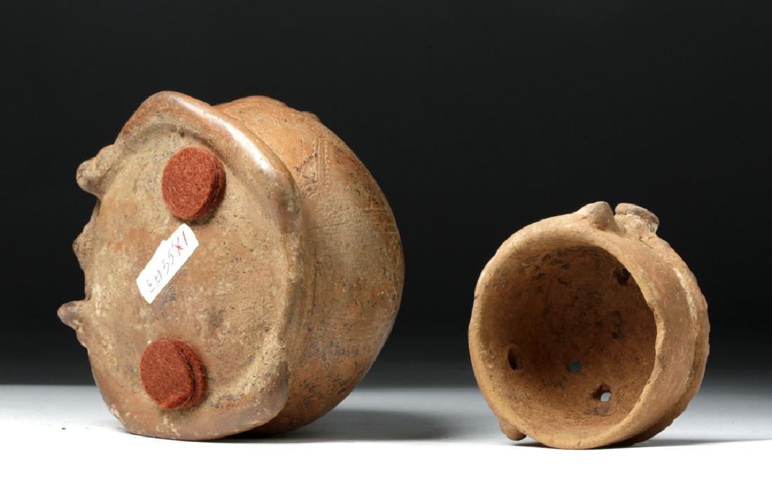 Costa Rican Pottery Lidded Effigy Jar - Chieftain - 8