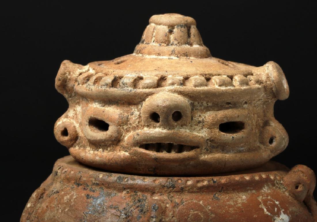 Costa Rican Pottery Lidded Effigy Jar - Chieftain - 9