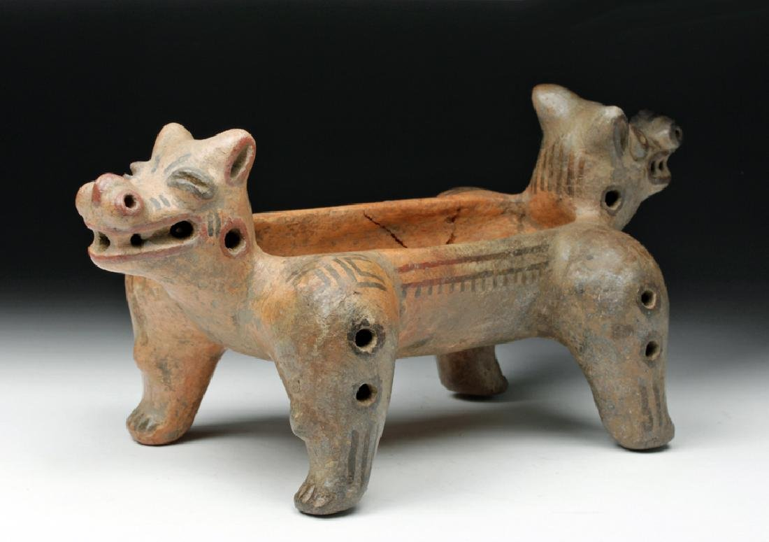 Costa Rican Pottery Double Headed Vessel