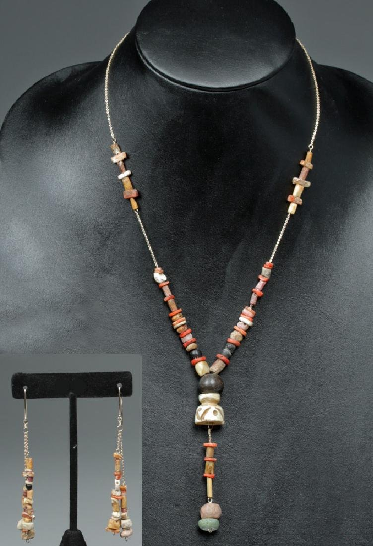 Pre-Columbian Colombian Matching Y-Necklace & Earrings