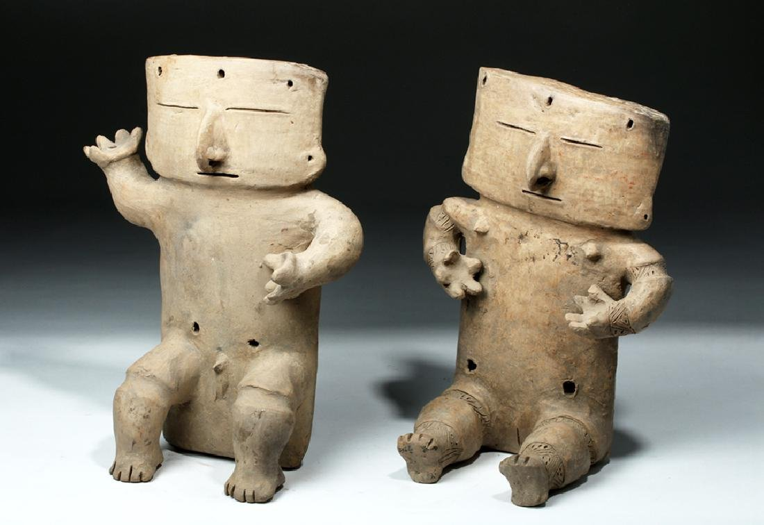 Cauca / Quimbaya Pottery Seated Matched Couple - Rare!