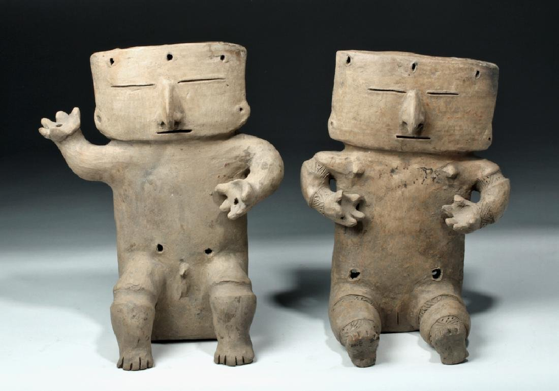 Cauca / Quimbaya Pottery Seated Matched Couple - Rare! - 2