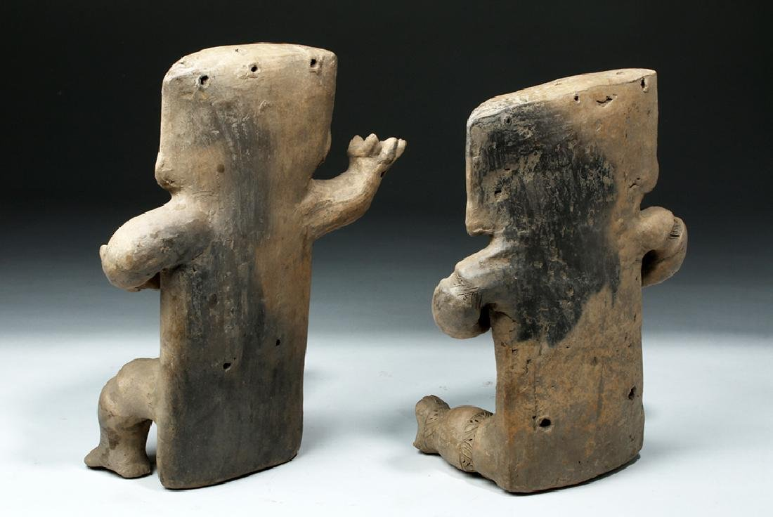 Cauca / Quimbaya Pottery Seated Matched Couple - Rare! - 3
