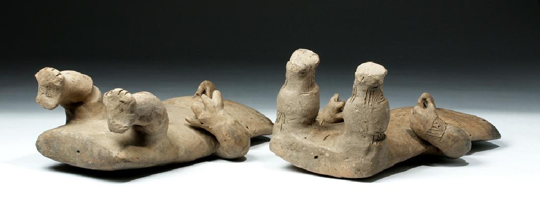 Cauca / Quimbaya Pottery Seated Matched Couple - Rare! - 6