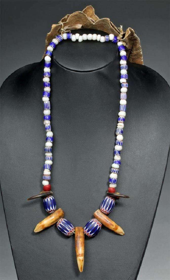 Plains Indian Beaded Bear Claw Medicine Necklace
