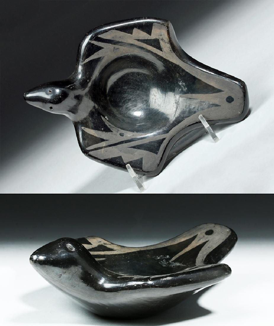Mid 20th C. San Ildefonso Pottery Bird Dish