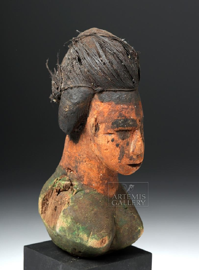 Early 20th C. African Fon Wood Female Bust Fragment