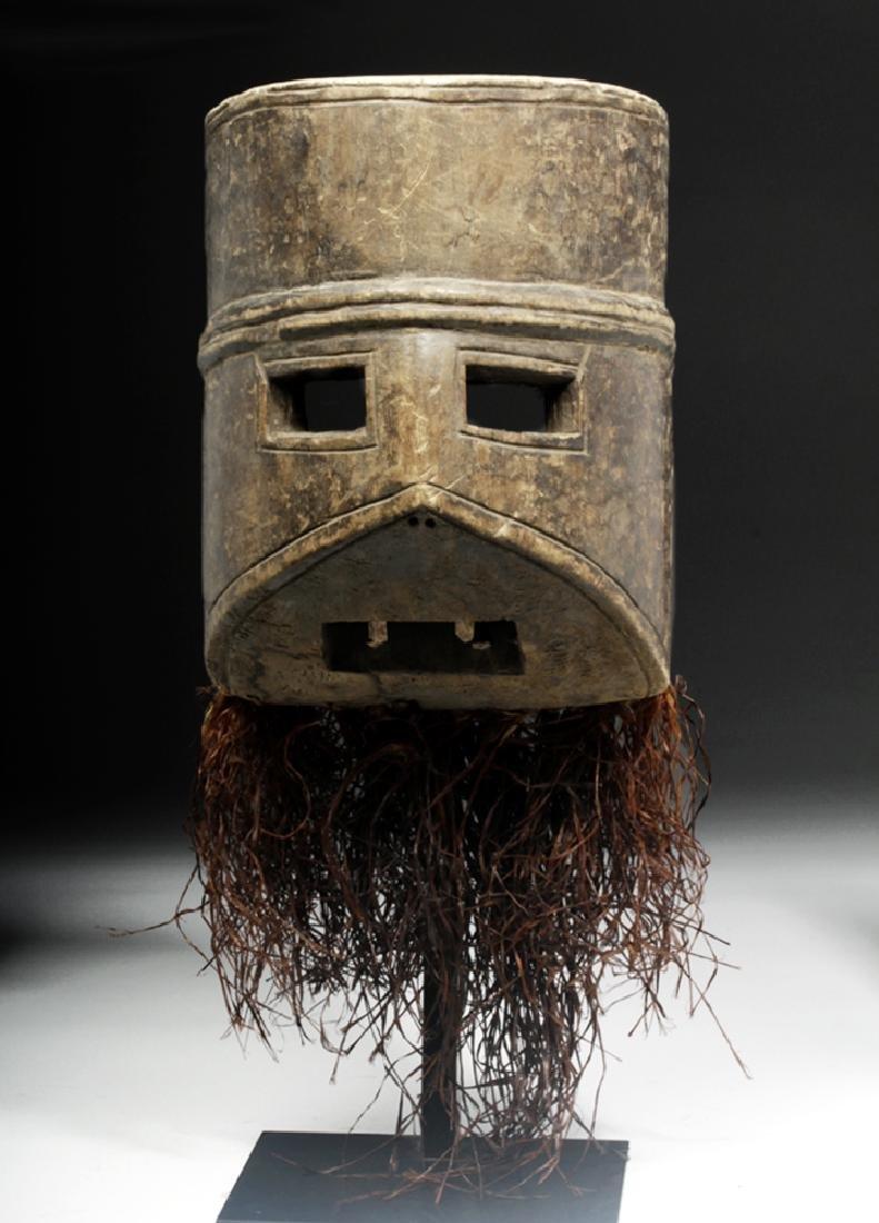 African Congo Ituri Wood Tri-Planar Mask + Raffia
