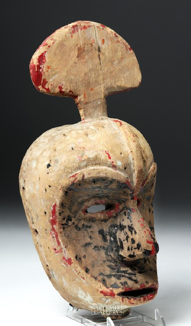 Early 20th C. African Ibibio Wooden Idiok Mask