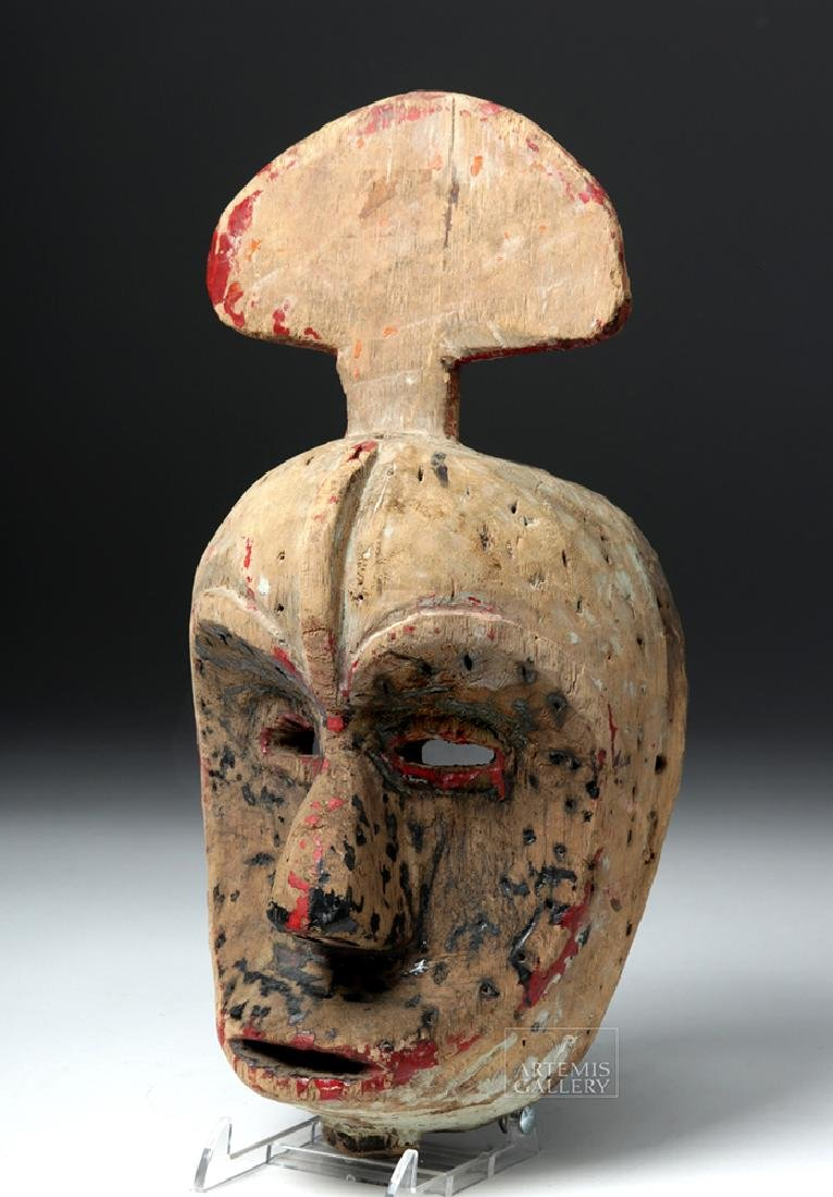 Early 20th C. African Ibibio Wooden Idiok Mask - 3