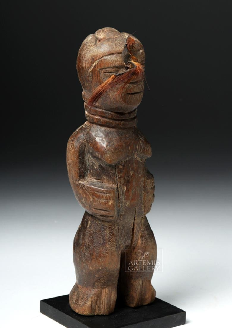 Early 20th C. African Benin Female Wooden Figure - 5