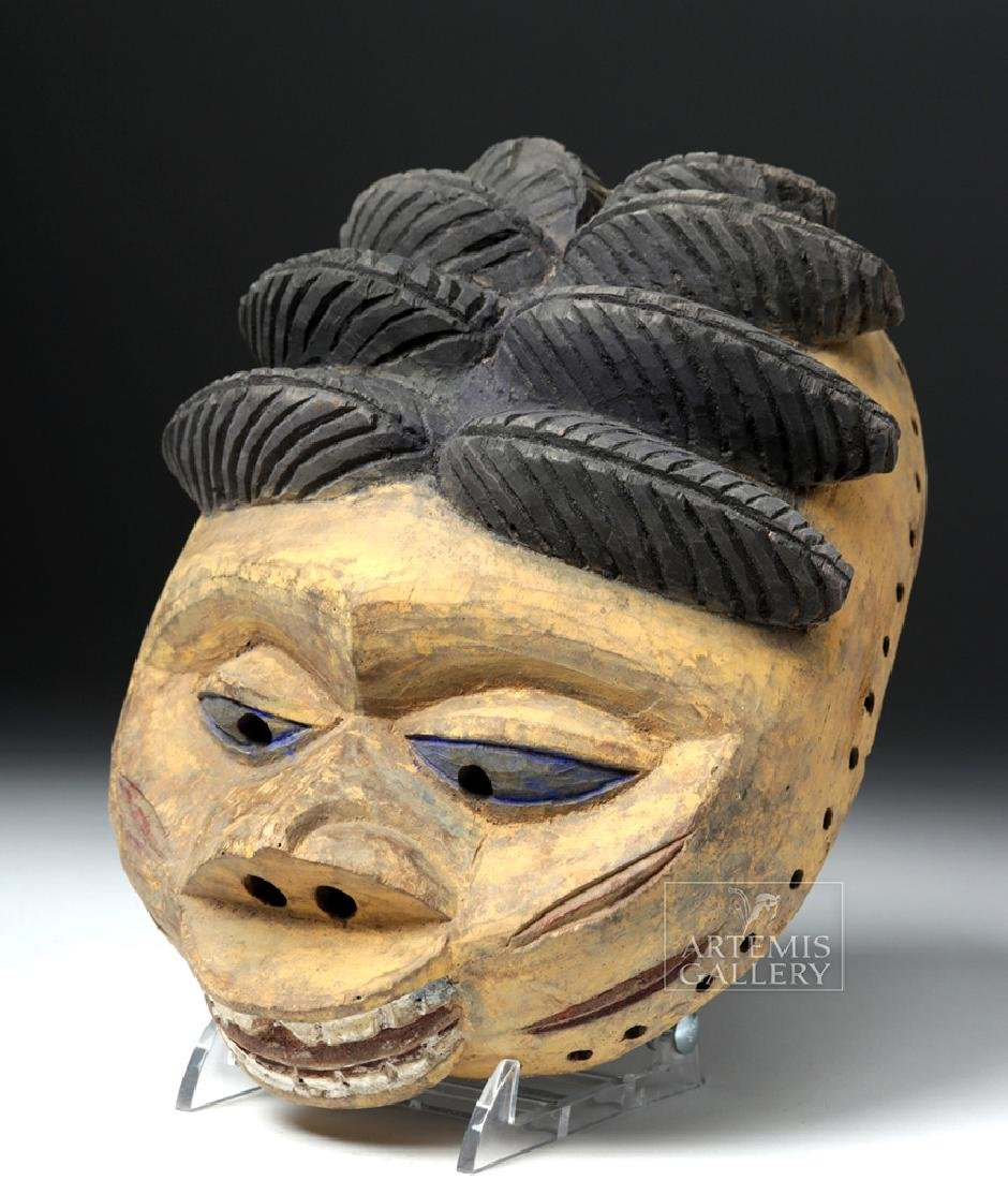 20th C. Nigerian Yoruba Painted Wood Gelede Mask