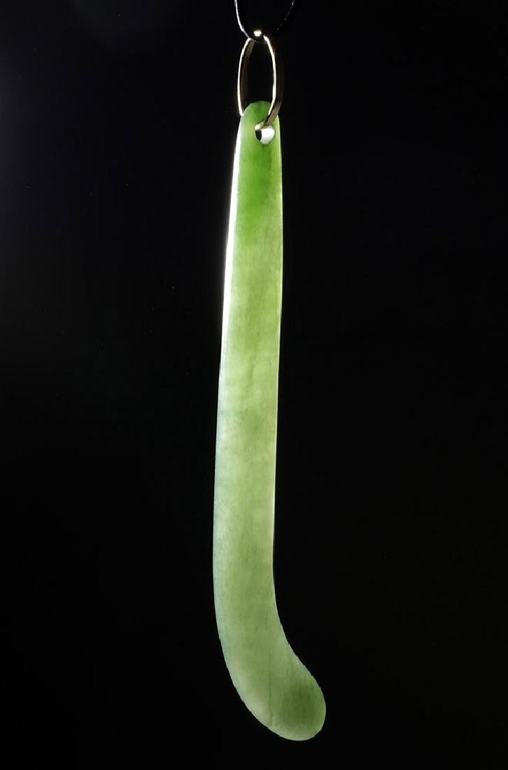 Gorgeous 19th C. Maori Apple-Green Jade Pendant
