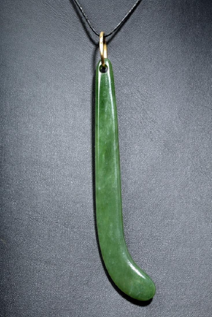 Gorgeous 19th C. Maori Apple-Green Jade Pendant - 2