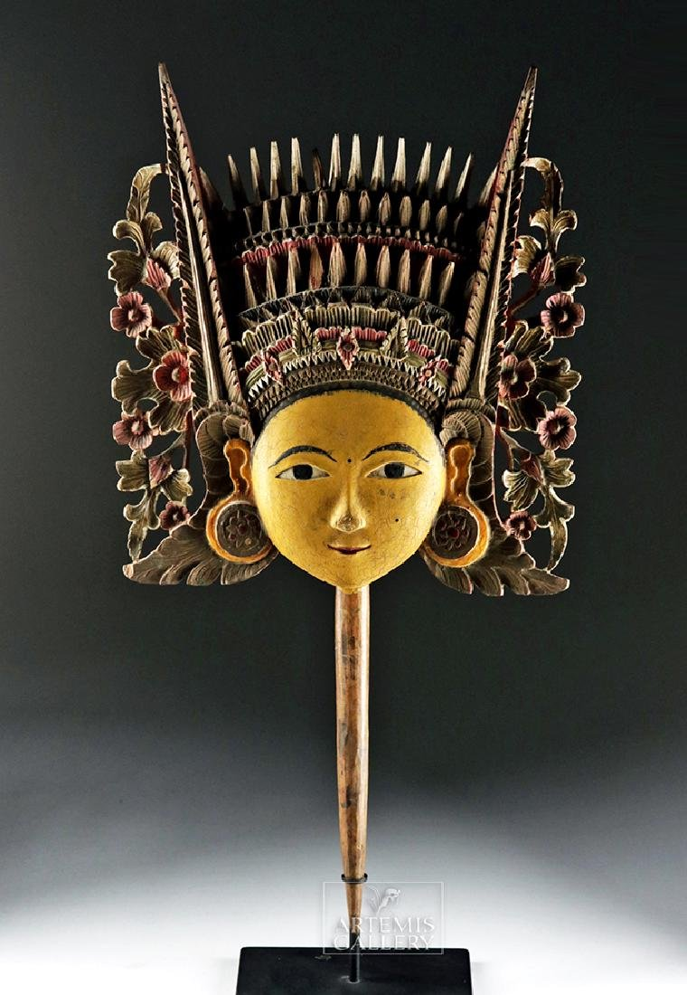 20th C. Beautiful Indonesian Wooden Painted Puppet