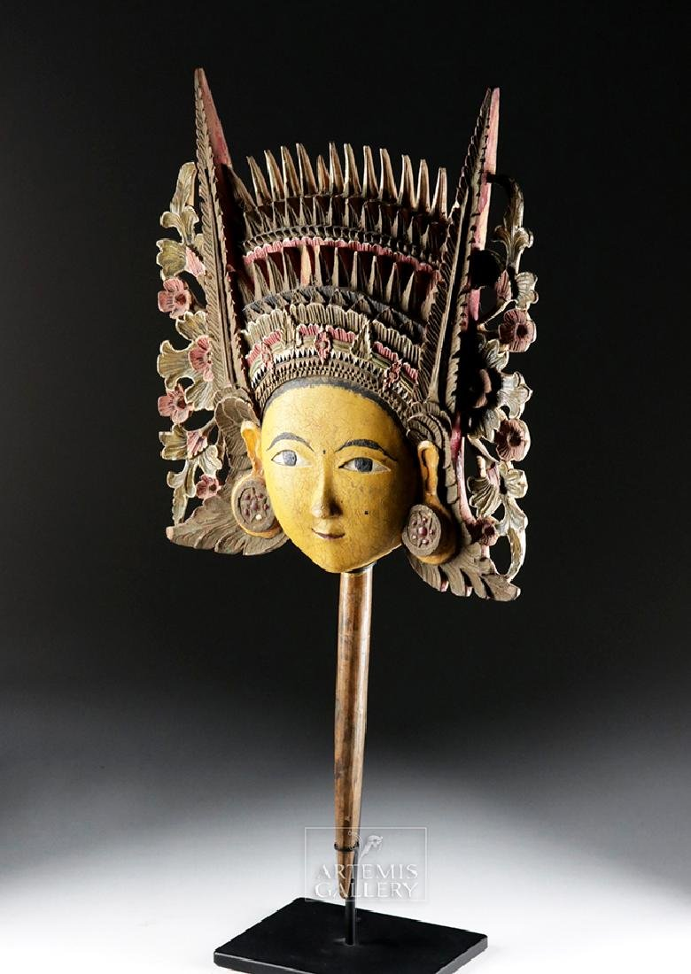 20th C. Beautiful Indonesian Wooden Head - Dewi Sri - 2