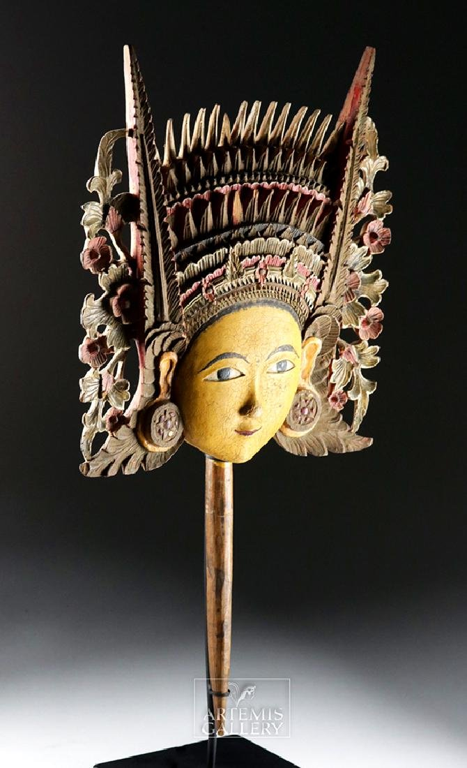 20th C. Beautiful Indonesian Wooden Head - Dewi Sri - 3