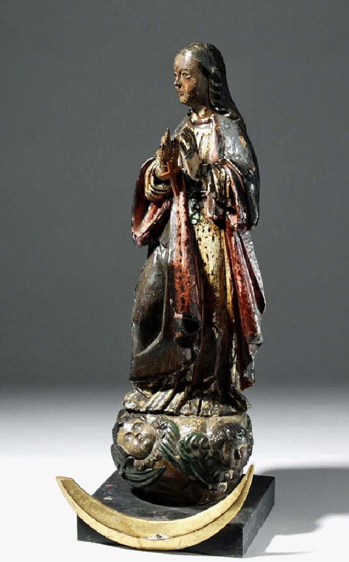 Early 19th C. Mexican Wood Santo - Woman of Apocalypse