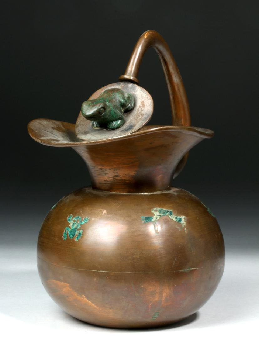 Los Castillo Taxco Copper Water Pitcher w/ Frogs