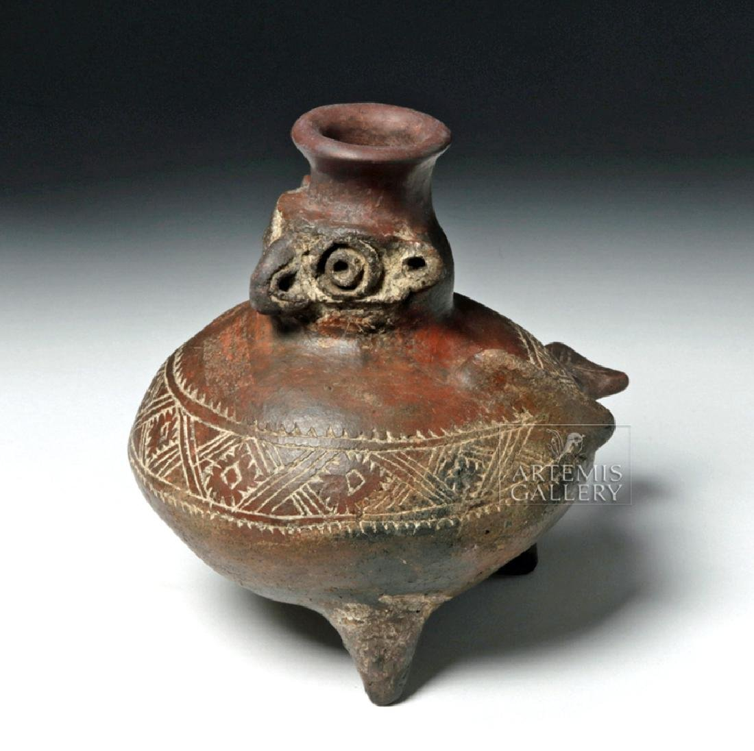 Colombian Pottery Effigy Pot in Owl Form