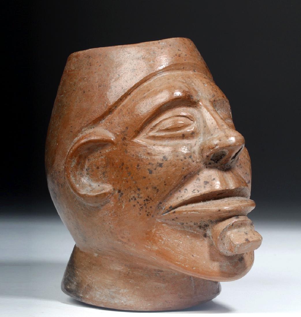 Moche Redware Portrait Vessel - Head w/ Lip Plug