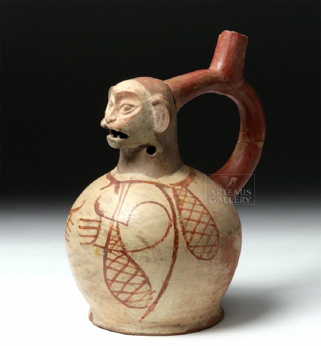 Moche Pottery Stirrup Jar - Jaguar Transition
