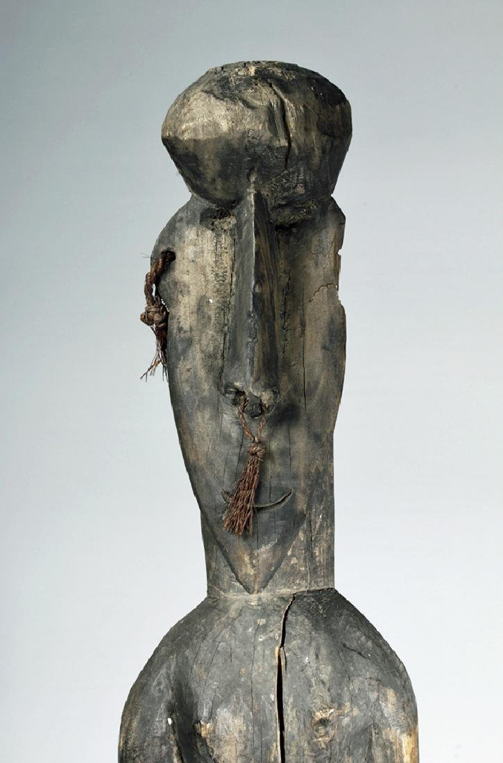 Tall / Early 20th C. PNG Carved Wood Ancestor Figure - 6