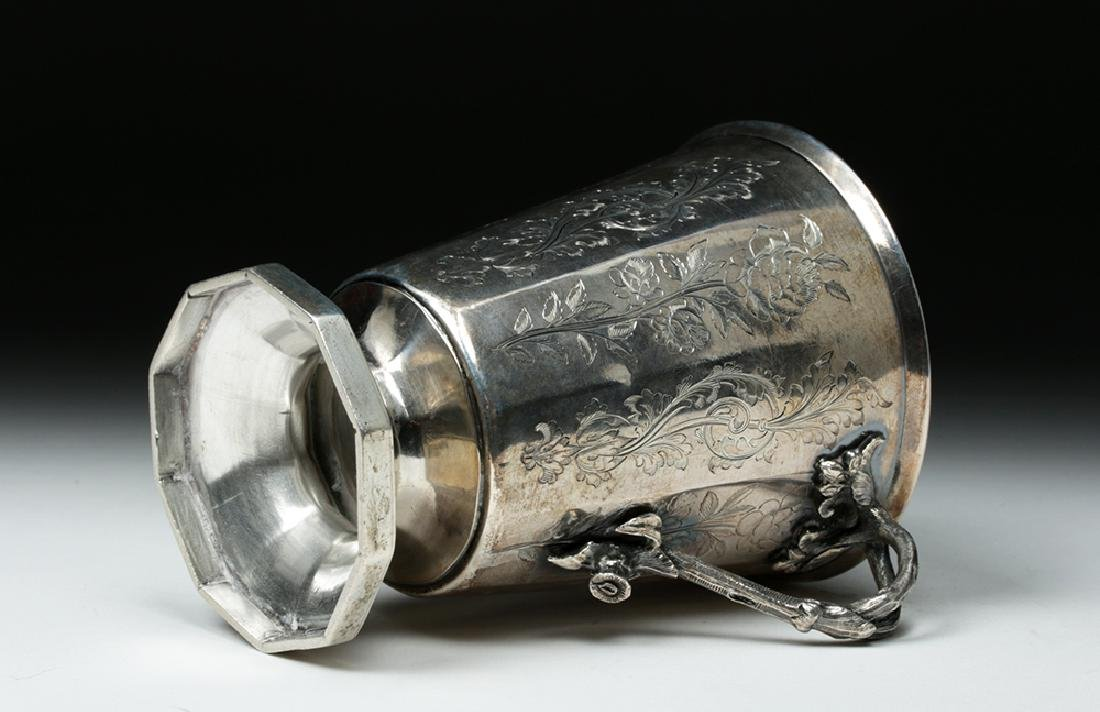 19th C. Spanish Colonial Sterling Silver Cup, 223.7 g - 10