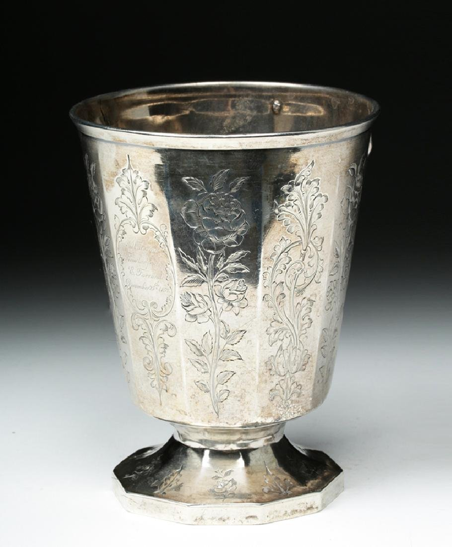 19th C. Spanish Colonial Sterling Silver Cup, 223.7 g - 4
