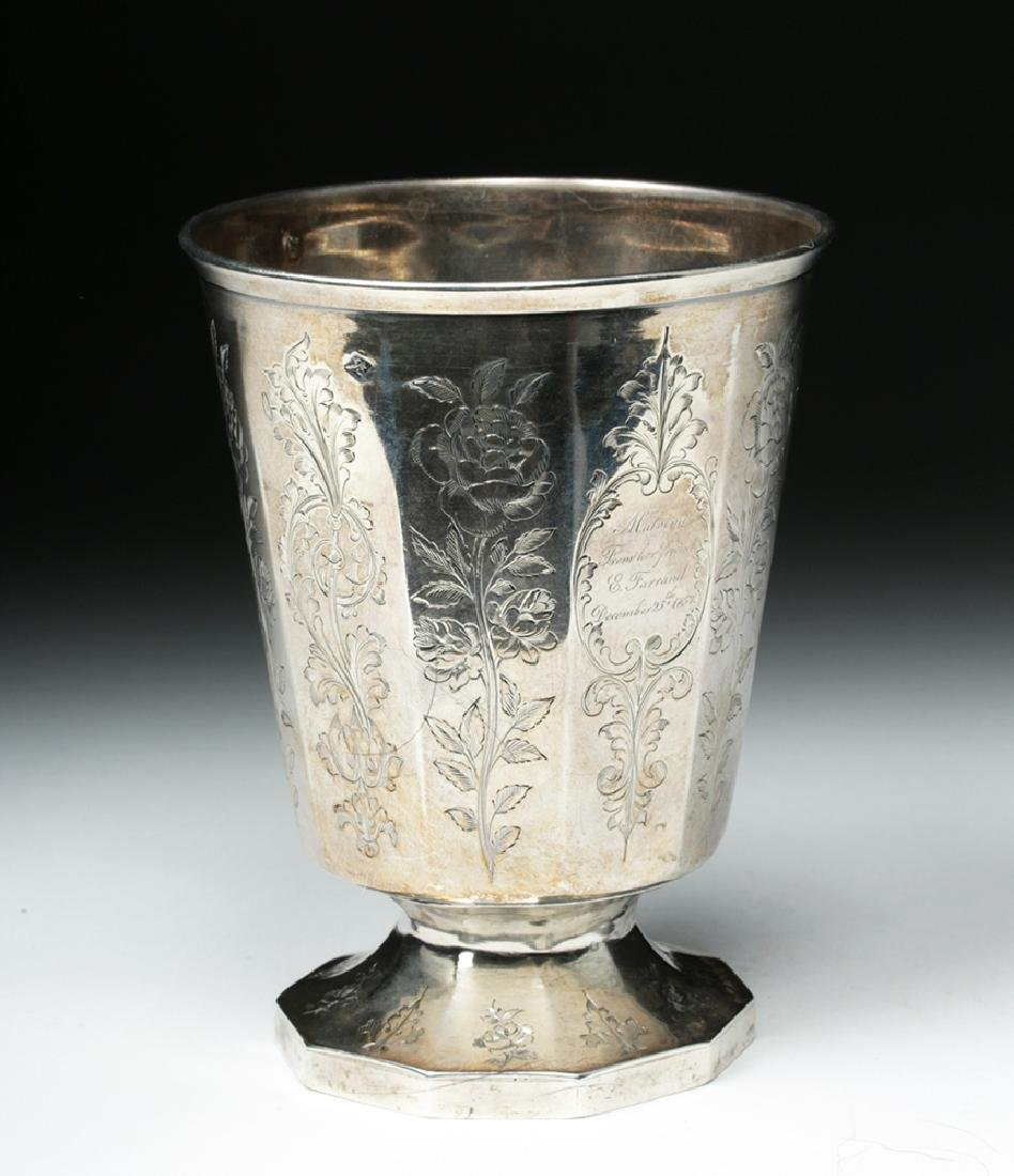 19th C. Spanish Colonial Sterling Silver Cup, 223.7 g - 5