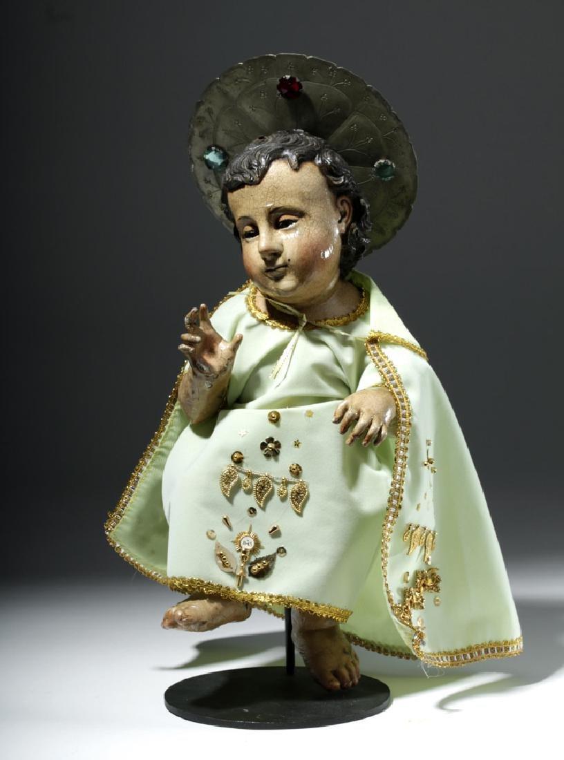 19th C. Spanish Colonial Wood Santo - Christ Child