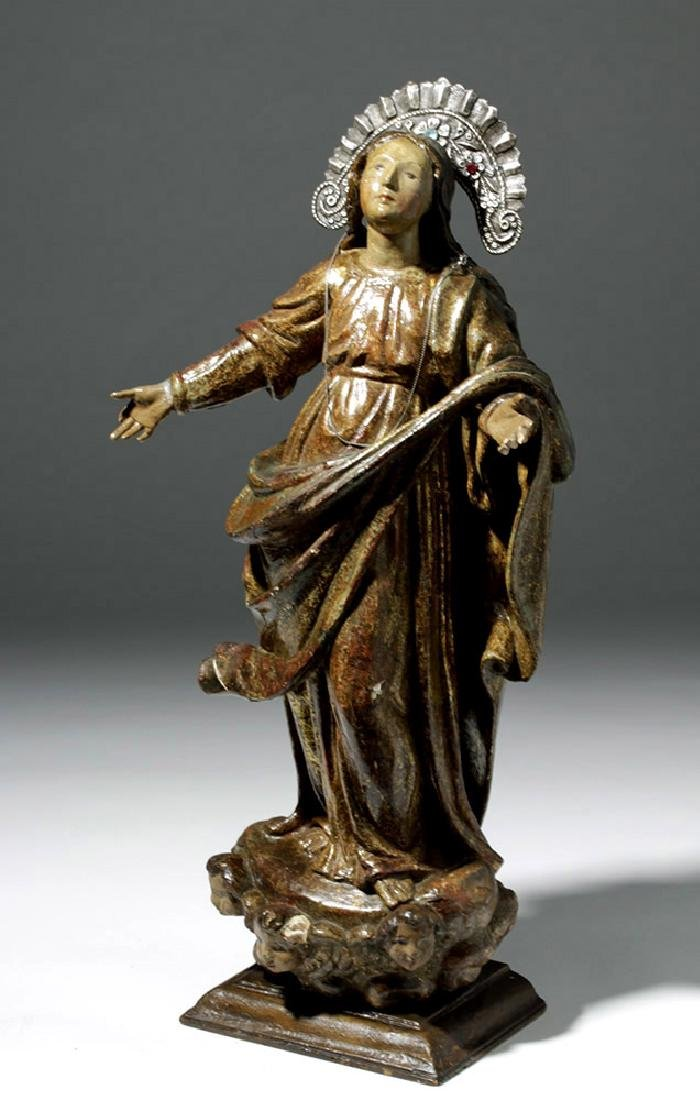 19th C. Mexican Wood Santo of Virgin Mary in Glory