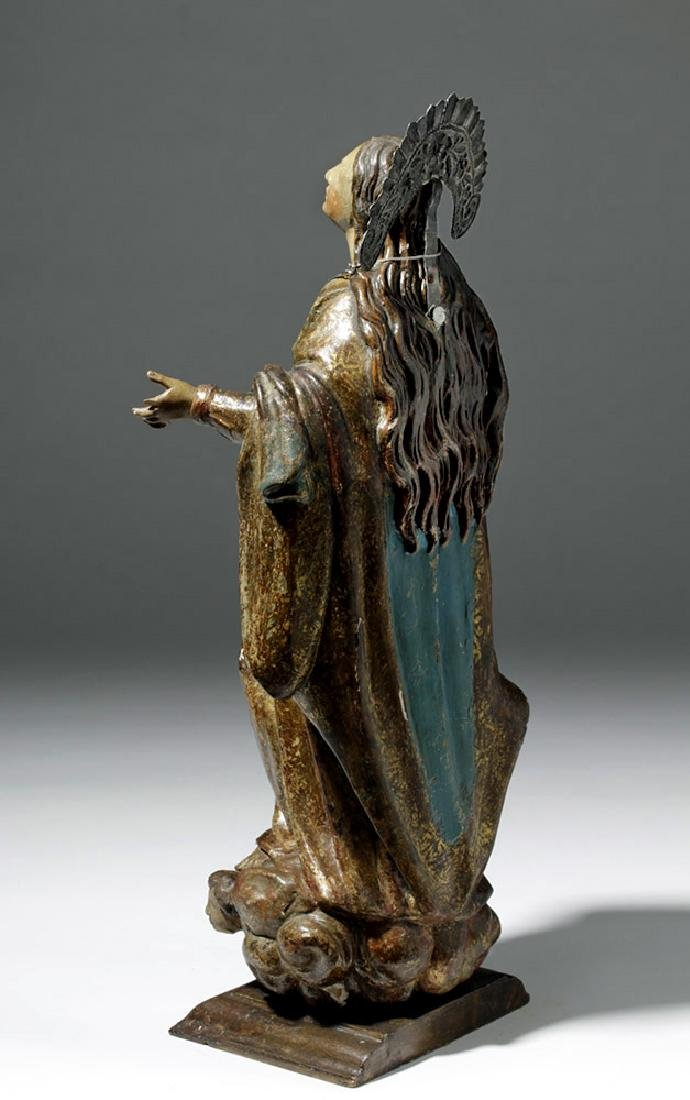 19th C. Mexican Wood Santo of Virgin Mary in Glory - 2