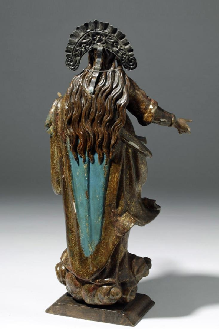 19th C. Mexican Wood Santo of Virgin Mary in Glory - 3