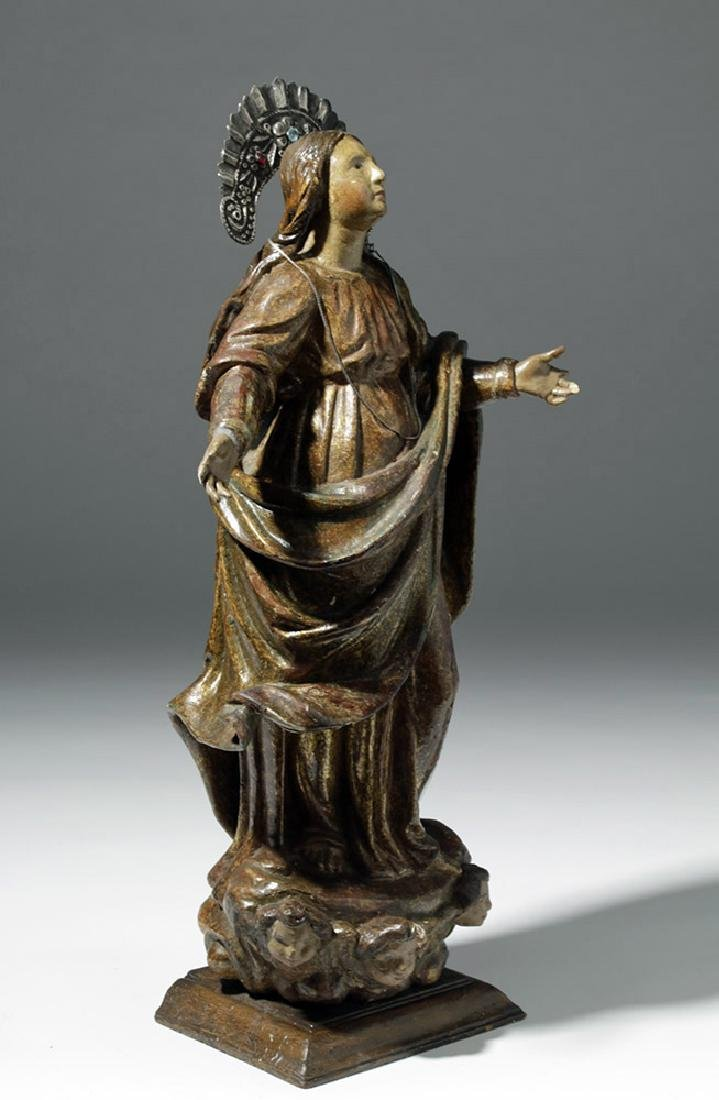 19th C. Mexican Wood Santo of Virgin Mary in Glory - 4