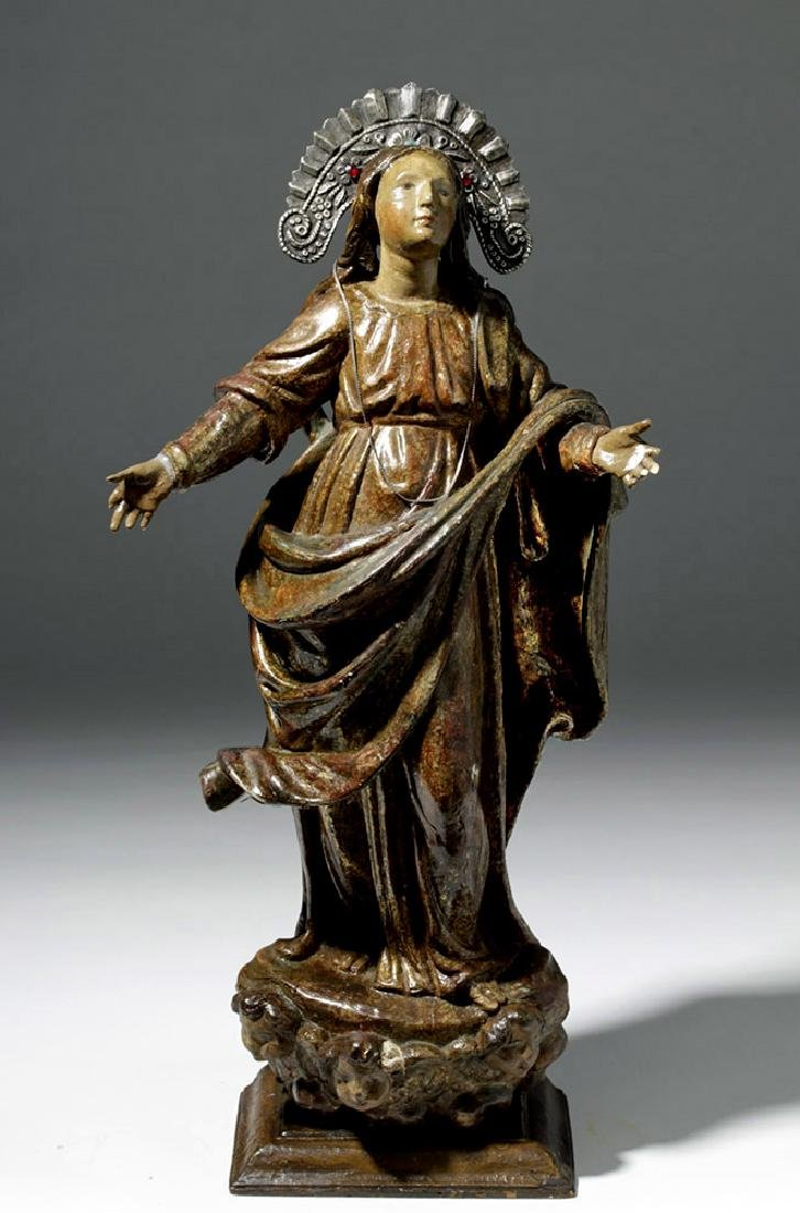 19th C. Mexican Wood Santo of Virgin Mary in Glory - 5