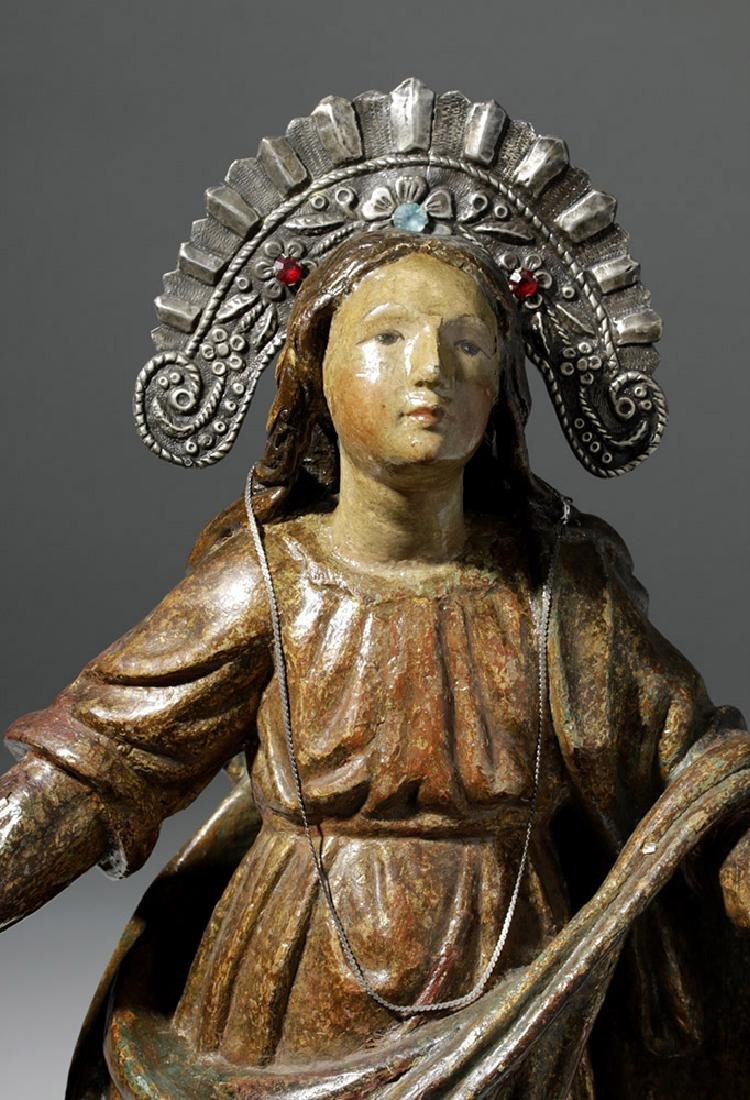 19th C. Mexican Wood Santo of Virgin Mary in Glory - 6