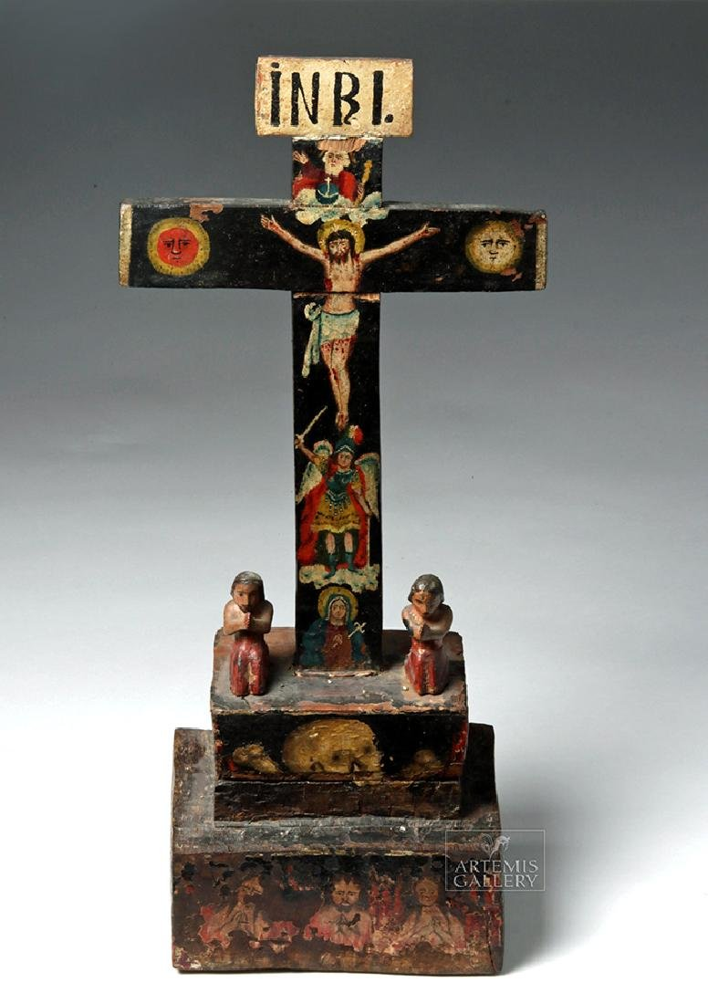 Early 19th C. Mexican Carved Wood Cross of Souls