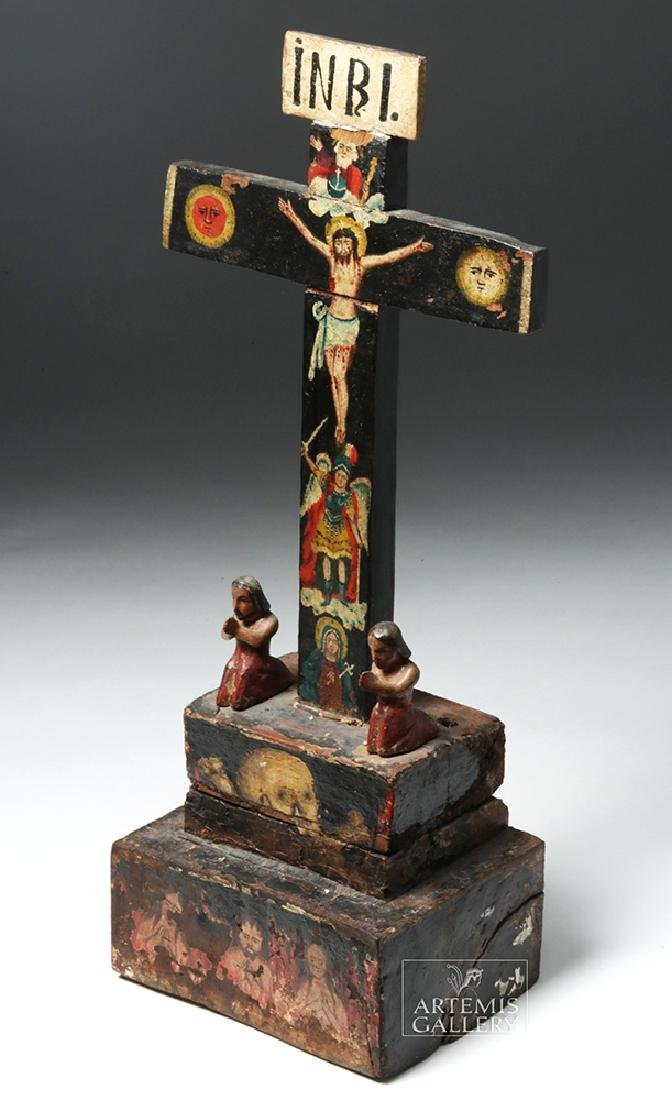 Early 19th C. Mexican Carved Wood Cross of Souls - 2