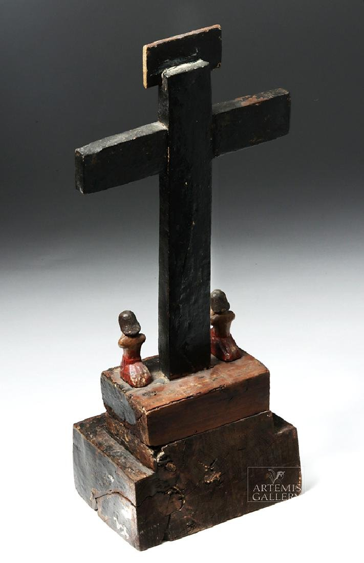 Early 19th C. Mexican Carved Wood Cross of Souls - 3