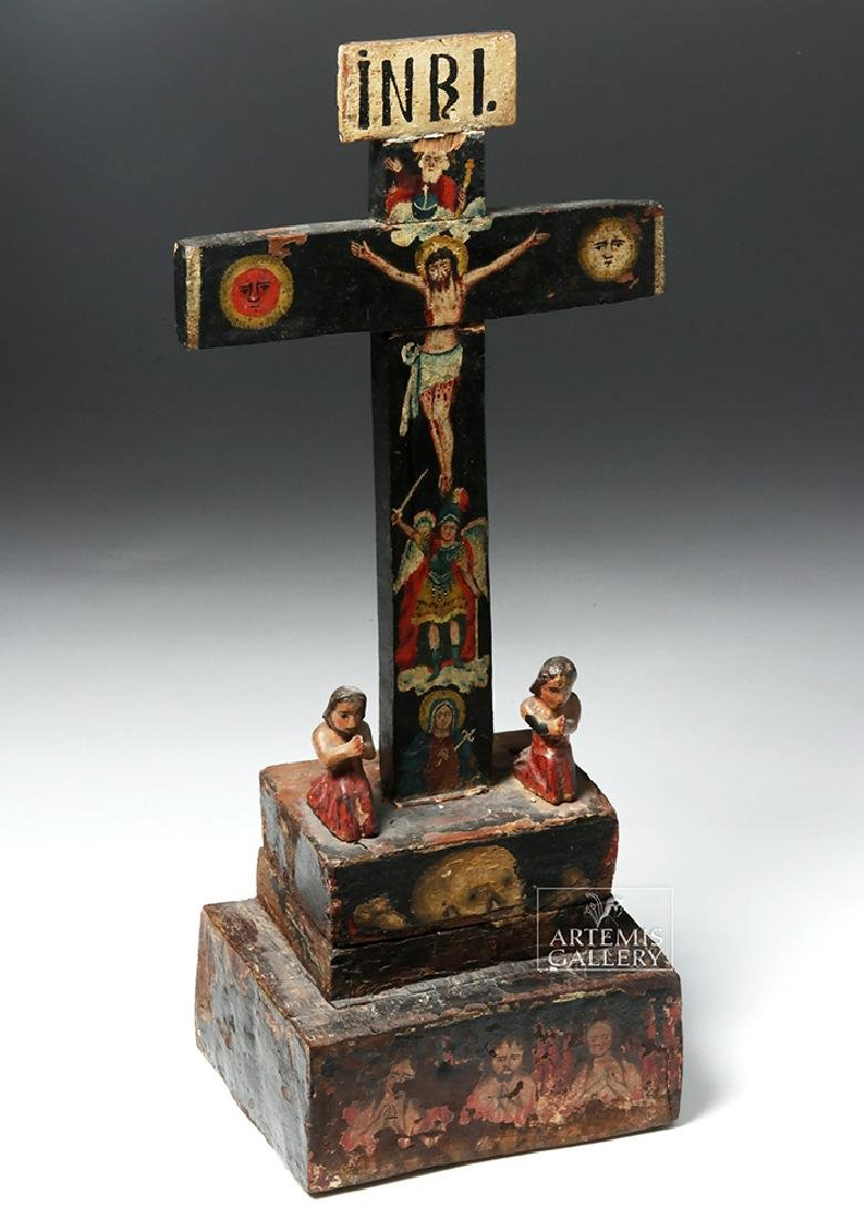 Early 19th C. Mexican Carved Wood Cross of Souls - 5