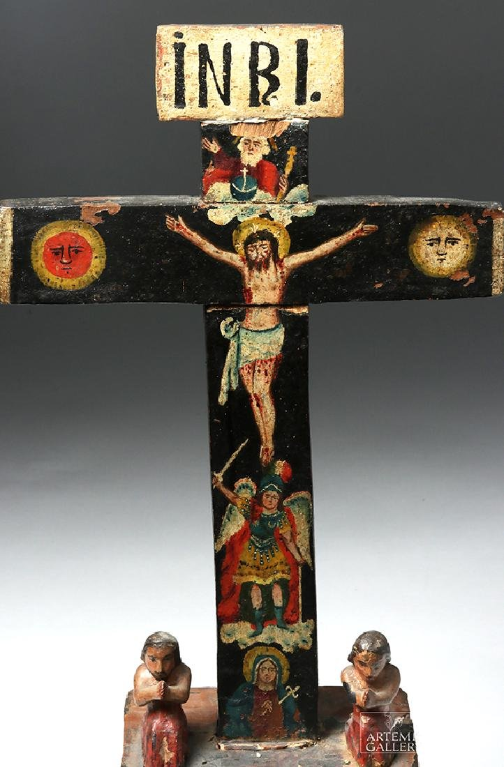 Early 19th C. Mexican Carved Wood Cross of Souls - 6