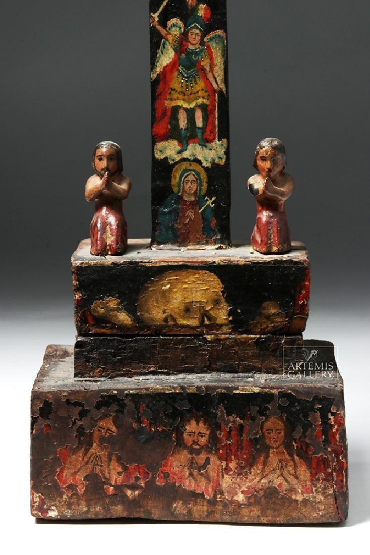 Early 19th C. Mexican Carved Wood Cross of Souls - 7