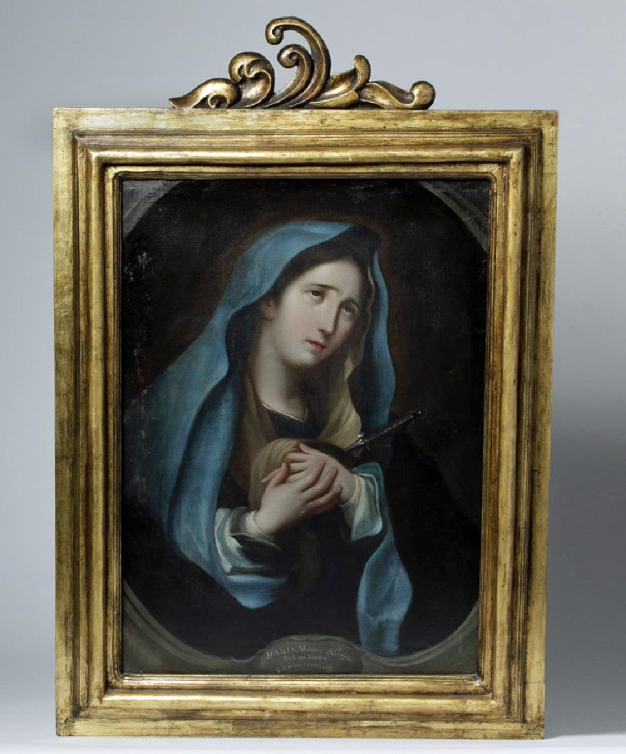 Framed 19th c. Mexican Painting - Mater Dolorosa