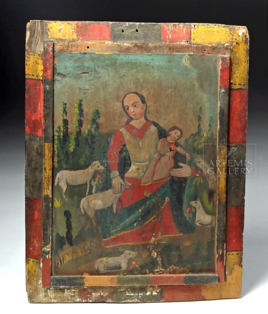 Mexican 19th C Painted Wood Retablo - Divina Pastora