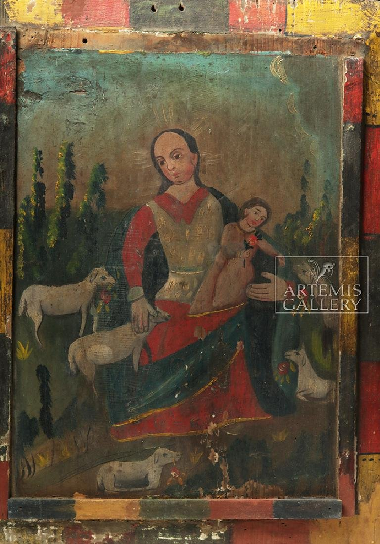 Mexican 19th C Painted Wood Retablo - Divina Pastora - 2