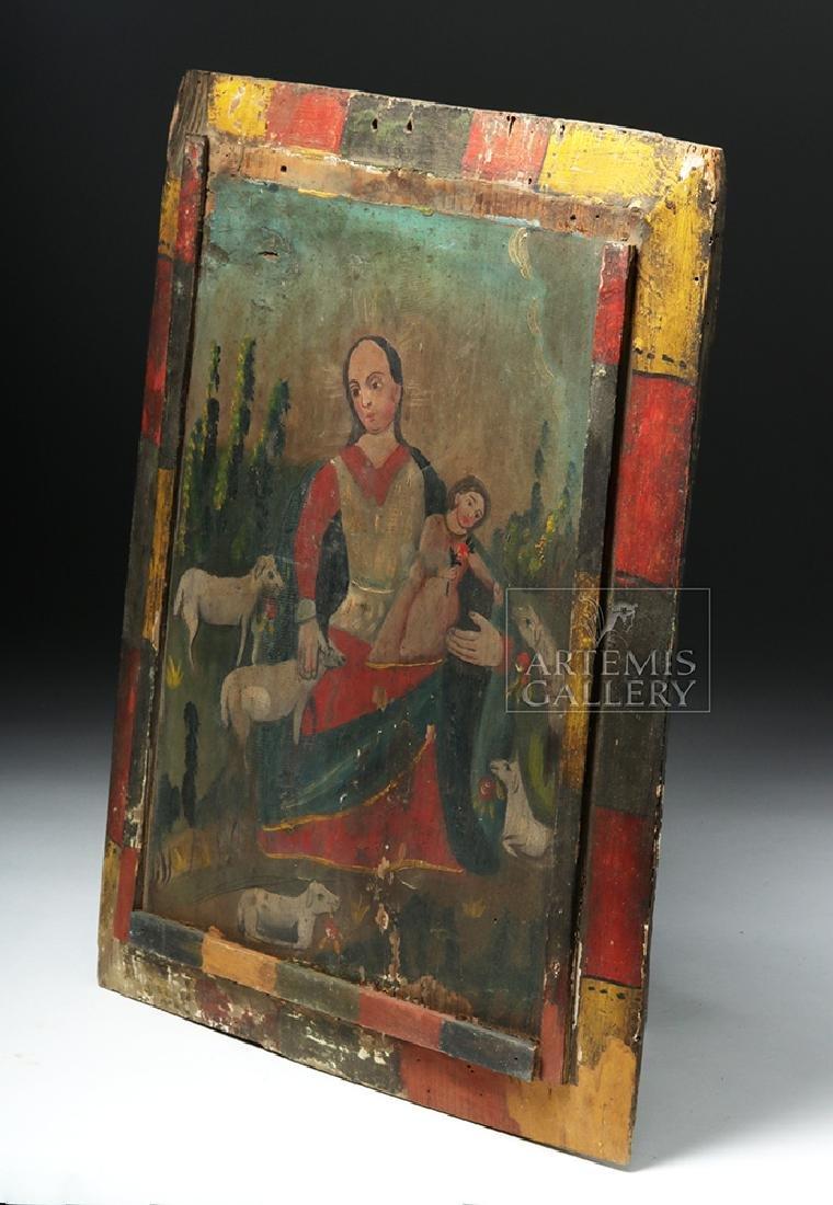 Mexican 19th C Painted Wood Retablo - Divina Pastora - 3